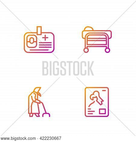 Set Line X-ray Shots, Grandmother, Identification Badge And Stretcher. Gradient Color Icons. Vector
