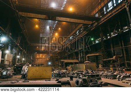 Industrial Interior Of Foundry, Steel Mill, Metallurgical Plant, Heavy Industry.