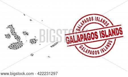 Galapagos Islands Rubber Seal, And Galapagos Islands Map Collage Of Airliner Elements. Collage Galap
