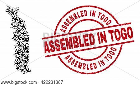 Assembled In Togo Rubber Badge, And Togo Map Mosaic Of Air Plane Items. Mosaic Togo Map Created Of A