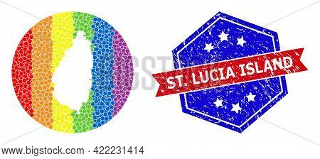 Pixelated Rainbow Gradiented Map Of Saint Lucia Island Collage Designed With Circle And Cut Out Shap