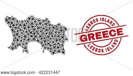 Lesbos Island Greece Rubber Stamp, And Jersey Island Map Collage Of Aeroplane Elements. Collage Jers