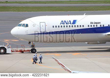 Tokyo, Japan - May 12, 2012: All Nippon Airways (ana) Boeing 767 At Narita International Airport, To