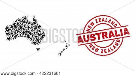 New Zealand Australia Rubber Seal, And Australia And New Zealand Map Mosaic Of Air Plane Elements. M