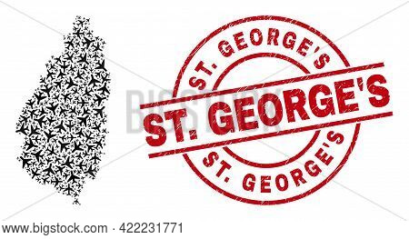 St. Georges Grunged Seal Stamp, And Saint Lucia Island Map Mosaic Of Jet Vehicle Items. Collage Sain