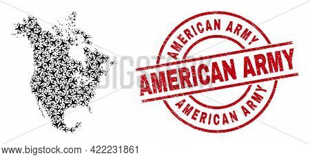 American Army Scratched Seal, And North America V2 Map Mosaic Of Air Force Elements. Collage North A