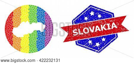 Pixelated Spectrum Map Of Slovakia Mosaic Formed With Circle And Stencil, And Textured Seal Stamp. L