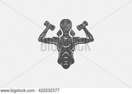 Powerful Sportswoman Exercising With Dumbbells Silhouette Hand Drawn Stamp Vector Illustration.