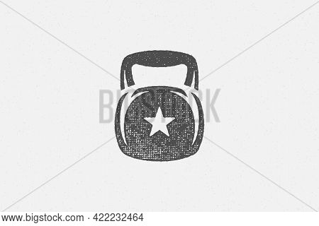 Heavy Kettlebell Silhouette As Symbol Of Weightlifting Workout Hand Drawn Stamp Vector Illustration.