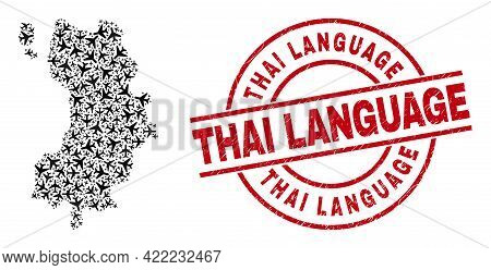 Thai Language Rubber Badge, And Koh Tao Map Collage Of Air Plane Elements. Mosaic Koh Tao Map Create