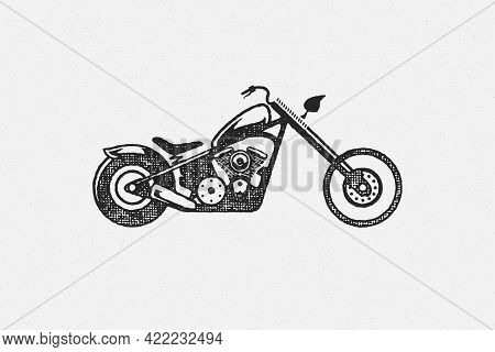 Chopper Motorcycle Silhouette Side View Hand Drawn Ink Stamp Vector Illustration.