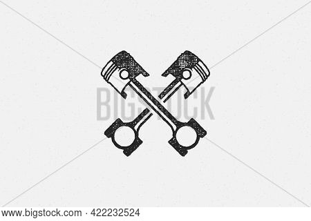 Crossed Pistons Silhouette Hand Drawn Ink Stamp Vector Illustration.