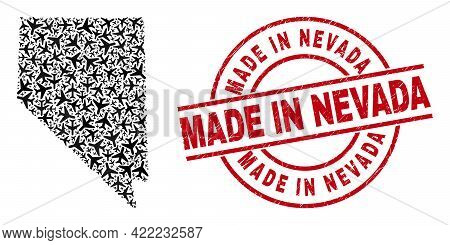 Made In Nevada Grunge Seal, And Nevada State Map Mosaic Of Aviation Elements. Mosaic Nevada State Ma