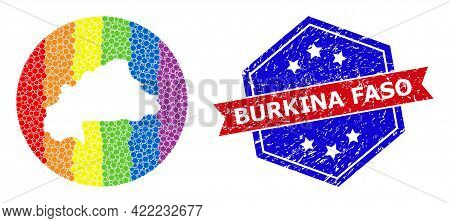 Dotted Spectral Map Of Burkina Faso Mosaic Designed With Circle And Subtracted Space, And Grunge Sea