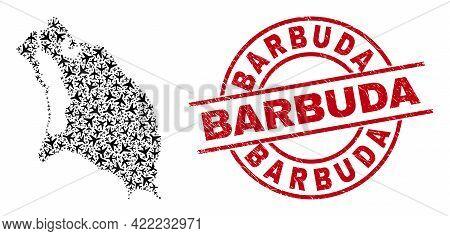 Barbuda Distress Badge, And Barbuda Island Map Mosaic Of Air Force Elements. Mosaic Barbuda Island M