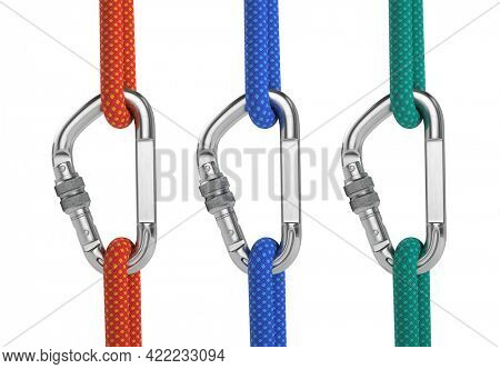 Steel carabiner hook with a red, blue and green climbing rope isolated on white. 3d rendering