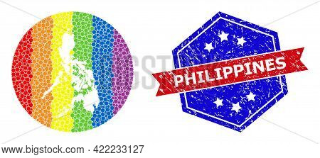 Dot Rainbow Gradiented Map Of Philippines Collage Created With Circle And Hole, And Scratched Seal.