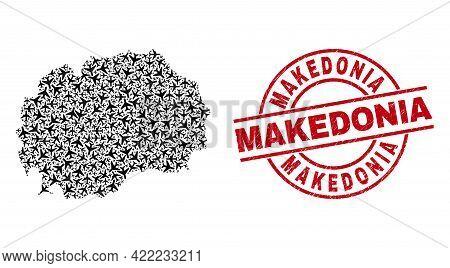 Makedonia Grunge Seal, And Macedonia Map Mosaic Of Air Plane Elements. Mosaic Macedonia Map Designed