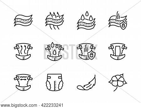 Properties Of Diapers Flat Line Icon Set. Vector Illustration Breathability, Moisture Resistance, Od