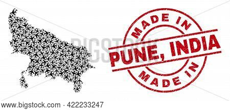 Made In Pune, India Scratched Seal Stamp, And Uttar Pradesh State Map Collage Of Air Force Elements.