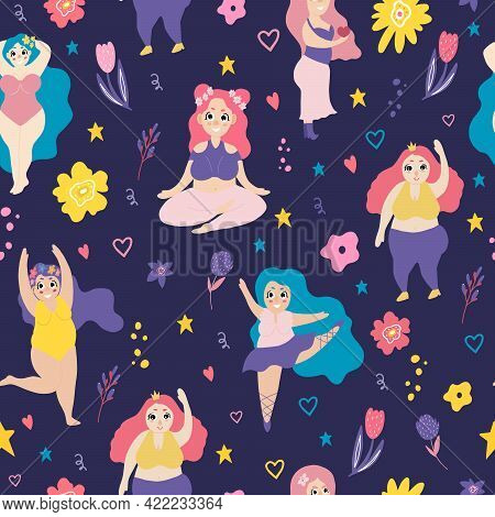 Body Positive. Seamless Pattern With Plus Size Women. The Ballerina Is Dancing. The Girl Does Gymnas
