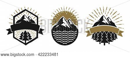 Set Of A Mountain Travel Vector Badges.