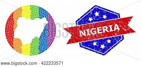 Dotted Bright Spectral Map Of Nigeria Mosaic Created With Circle And Hole, And Distress Seal. Lgbtq