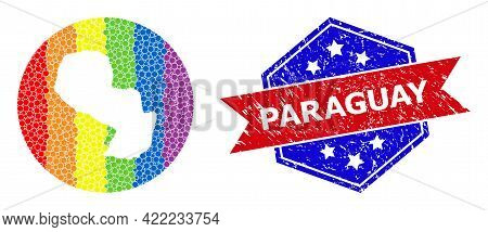 Dot Bright Spectral Map Of Paraguay Mosaic Designed With Circle And Carved Shape, And Grunge Seal St
