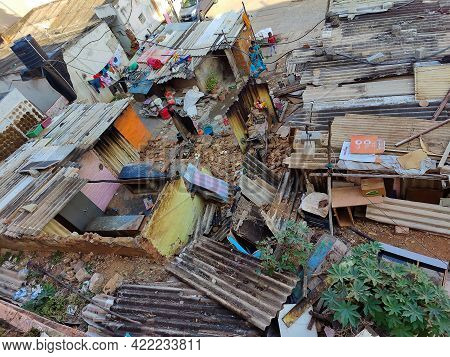 Bangalore, Karnataka, India- February 23rd 2021;aerial View Of Demolished Slum Area In Bangalore Cit
