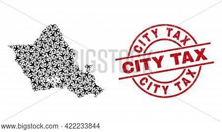 City Tax Grunged Seal Stamp, And Oahu Island Map Mosaic Of Jet Vehicle Items. Mosaic Oahu Island Map