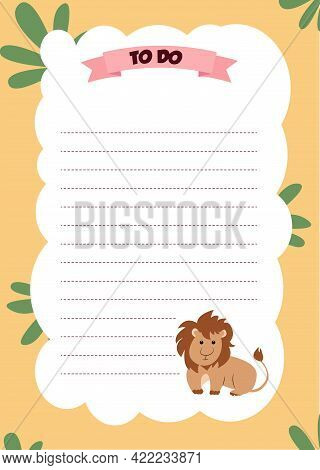 Cute Planner Template. Weekly, Monthly And Yearly Planner. To Do List, Goal Planner With Cartoon Lio