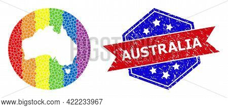 Dot Spectral Map Of Australia Mosaic Formed With Circle And Hole, And Distress Seal Stamp. Lgbt Spec