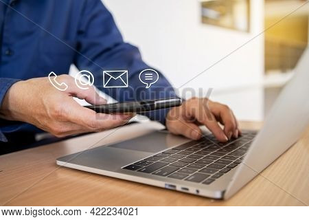 Hotline Service, Customer Support Hotline Contact Us People Connection. Businessman Using Smart Phon