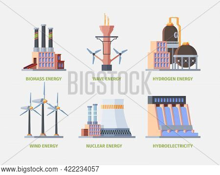 Electricity Plant. Power Hydro Energy Industrial Building Electricity Factory Station Garish Vector