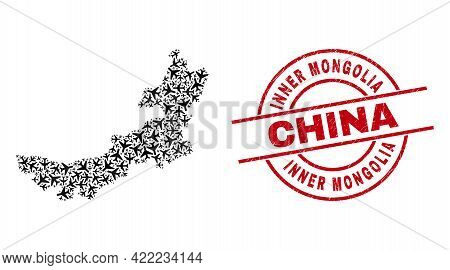 Inner Mongolia China Distress Badge, And Inner Mongolia Map Mosaic Of Aviation Elements. Mosaic Inne