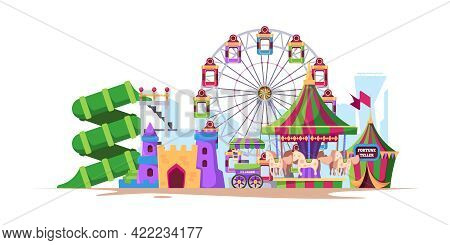 Amusement Background. Landscape Fun City With Attractions For Kids Big Wheels With Swing Machines Wi
