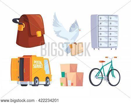 Postal Service. Mailbox Letters Postal Communication Items Hot Newspaper Service Car Garish Vector I