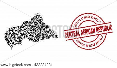 Central African Republic Distress Badge, And Central African Republic Map Collage Of Aviation Elemen