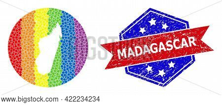 Dot Rainbow Gradiented Map Of Madagascar Island Mosaic Created With Circle And Carved Shape, And Scr