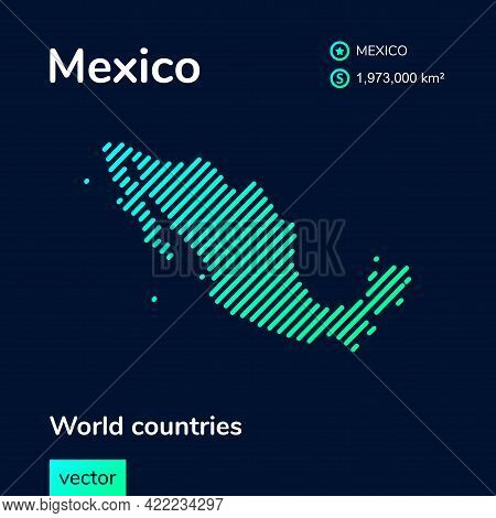 Vector Creative Digital Neon Flat Line Art Abstract Simple Map Of Mexico With Green, Mint, Turquoise