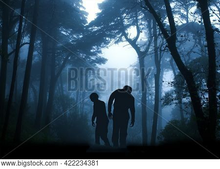 Horizontal banner with two zombies in mysterious landscape of foggy forest. Halloween scene with walking dead's. Zombie apocalypse. 3d render