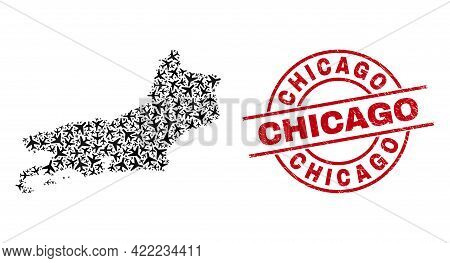 Chicago Rubber Seal, And Piaui State Map Collage Of Airplane Elements. Mosaic Piaui State Map Design