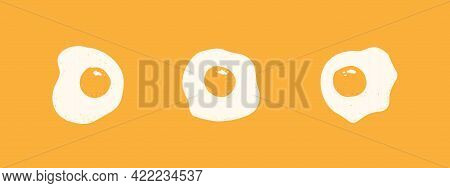 Three Scrambled Eggs On A Yellow Background. Vector Banner With Flat Fried Eggs.