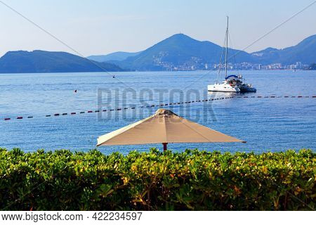 Luxury Yacht In The Lagoon . Luxury Tourist Resort On The Adriatic Sea . Montenegro Budva Riviera Sc