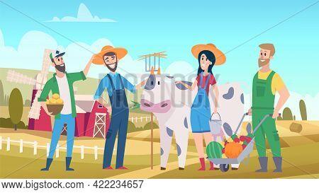 Cute Farmers. Agricultural Worker, Farm Landscape. Farmer Characters, Harvest Time Vector Illustrati
