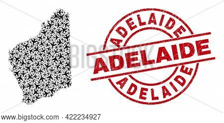 Adelaide Grunge Seal, And Western Australia Map Mosaic Of Jet Vehicle Elements. Collage Western Aust