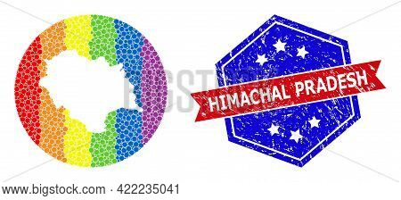 Pixel Spectrum Map Of Himachal Pradesh State Collage Composed With Circle And Stencil, And Textured