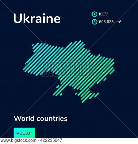 Vector Creative Digital Neon Flat Line Art Abstract Simple Map Of Ukraine With Green, Mint, Turquois