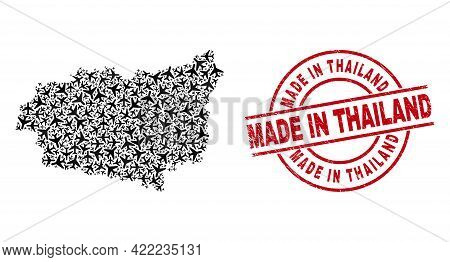 Made In Thailand Scratched Seal, And Leon Province Map Collage Of Air Force Items. Collage Leon Prov