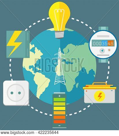 Electricity Consumption On Earth. Items Related To Electricity Around Planet. Energy Production And